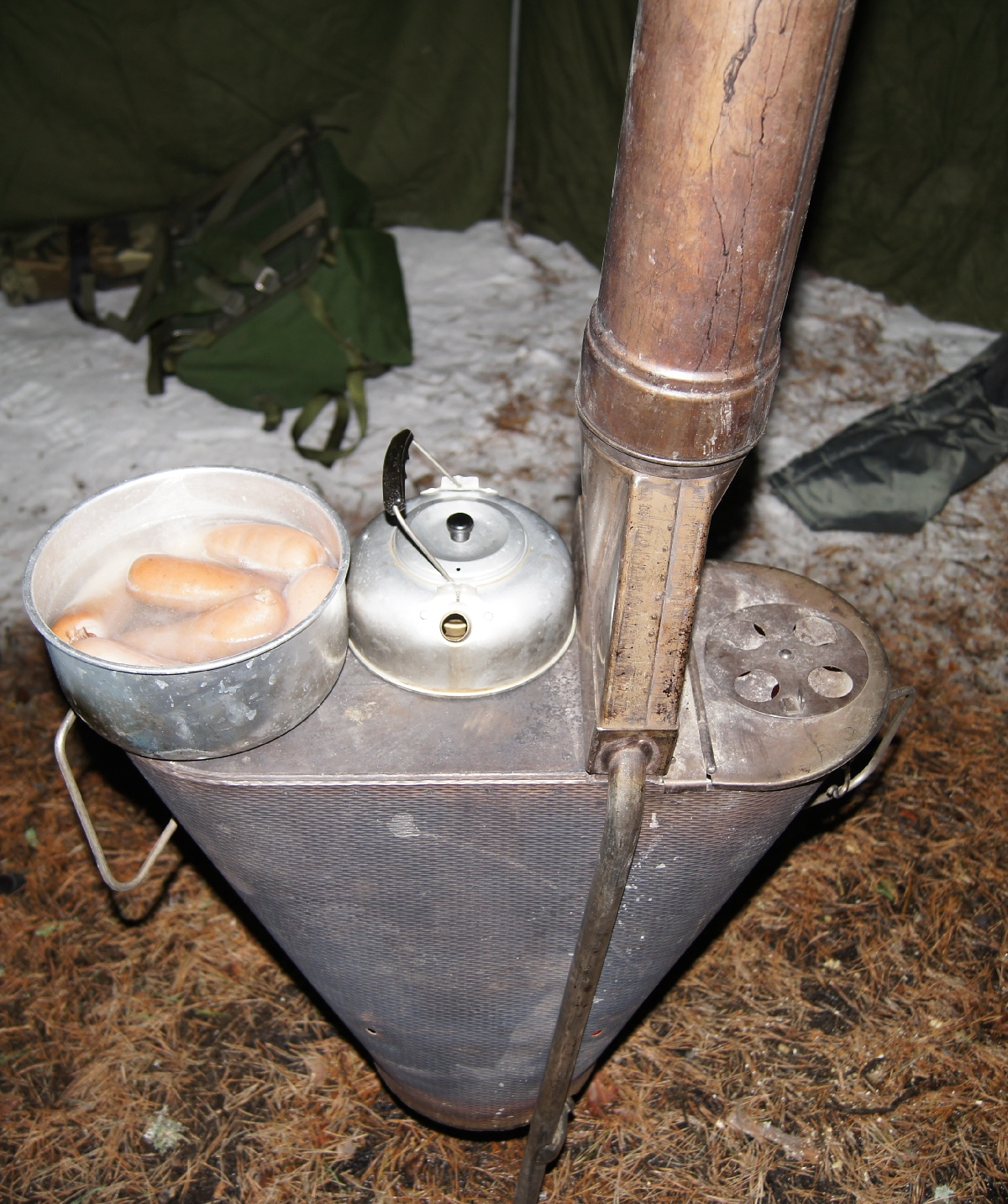 Stove inside swedish army tent. Matsirand. Holiday in Estonia Matsi beach on winter & NN44. Stove inside swedish army tent. Matsi beach on winter ...