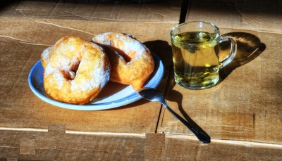 Donuts and green Chinese tea